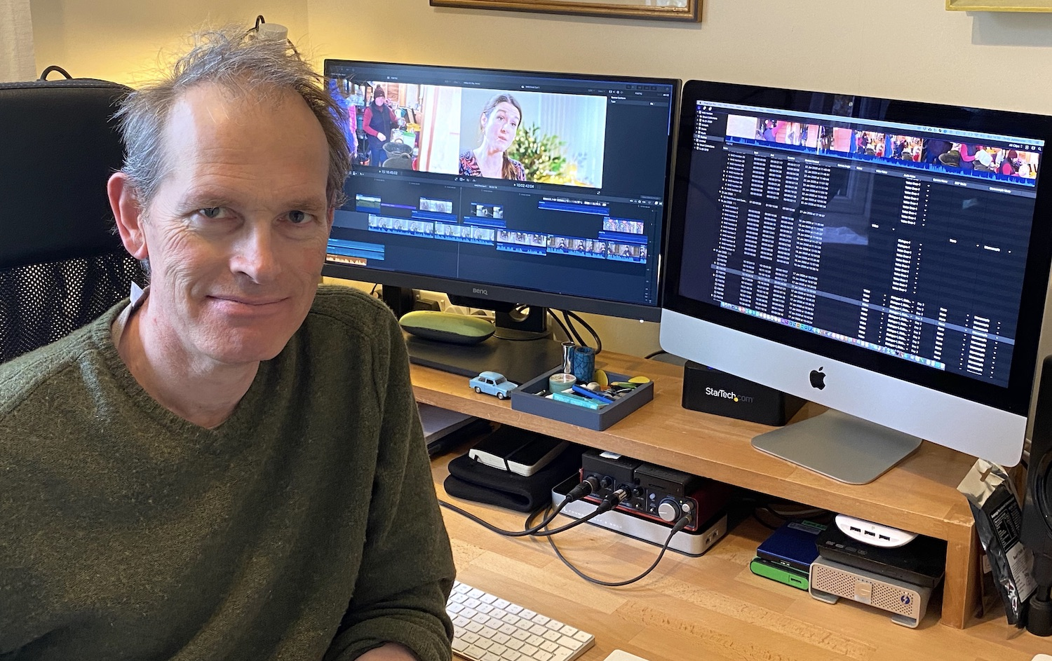 Andy Johnstone in the Wild Dog edit studio